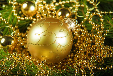 A particular of a Christmas tree with decorations.christmas Stock Photo