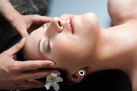 Beautiful girl having massage in spa.spa