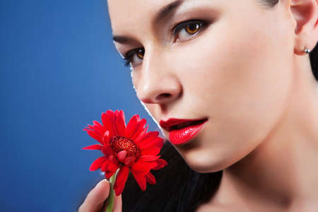 Beauty Face Perfect Healthy Skin  red flower Stock Photo - 16334035