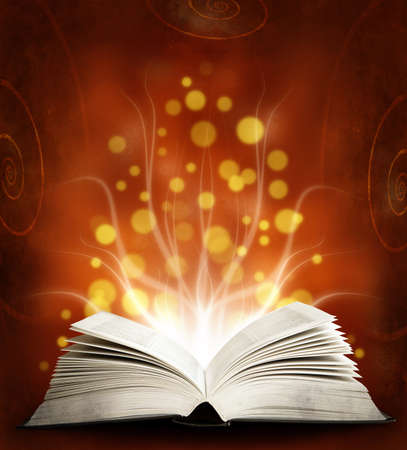 Book  Opened magic book with magic light  Education red