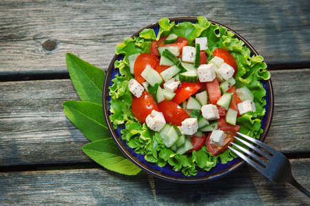 fresh salad with tomato and cucumber green salad