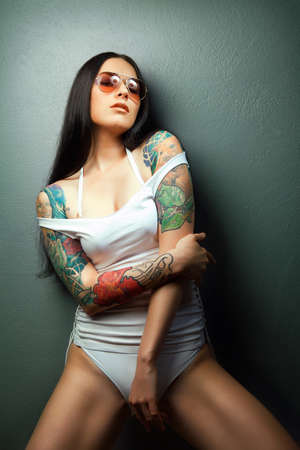 sexy topless girl: Beautiful sexy glamorous girl with tattoos  tattoos