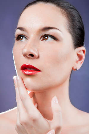 Skincare of young beautiful woman face. girl Stock Photo