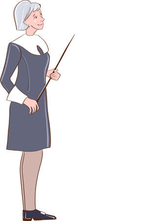 Cute, kind cartoon teacher with pointer in hand. The old woman. Vector illustration.