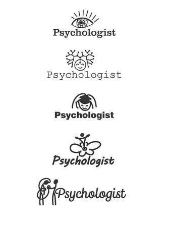 Logo for the psychologist. Several options. Black and white graphics. Archivio Fotografico - 150592394