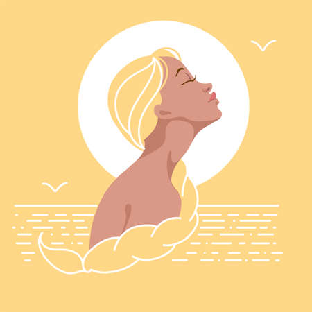 Illustration. A girl in profile with blond hair and a long braid. Against the background of the sea and the sun, sunset. Yellow. Minimalism.