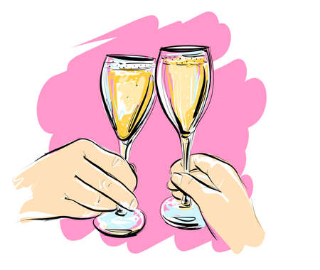 Illustration, vector. Two glasses of champagne. A couple clink glasses of wine. On a pink background.