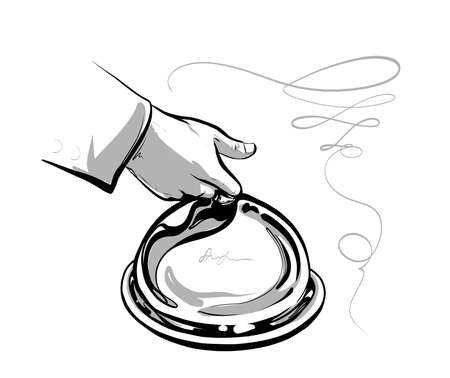 The waiter s hand serves a closed dish. Fine Haute cuisine. The logo is black and white. Illustration vector Logó