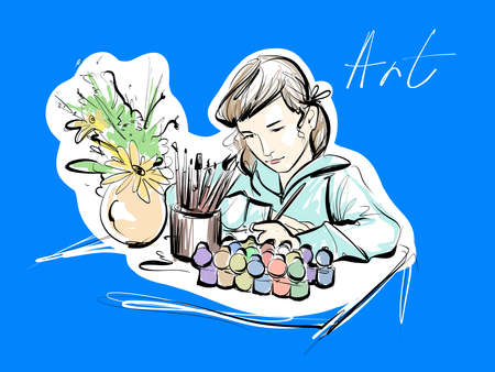 The girl paints sitting at the table. Around paint brushes and flowers. Multi-colored vector sketch illustration. Creativity of a young artist. Illusztráció