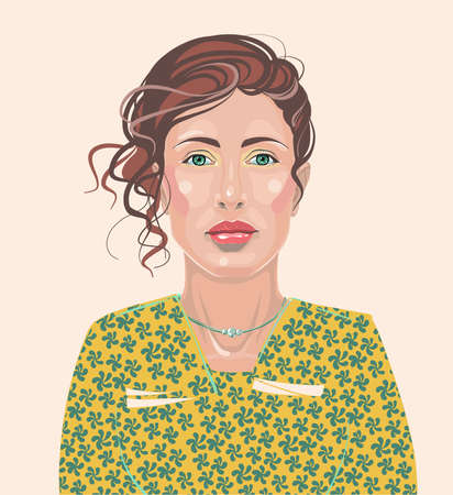 A smart girl, a woman with makeup and hair. Realistic isolated vector.