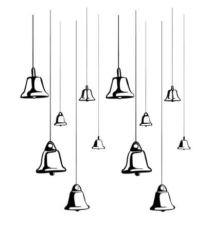 An illustration of elegant black bells suspended on strings isolated on a white background. To decorate the frame