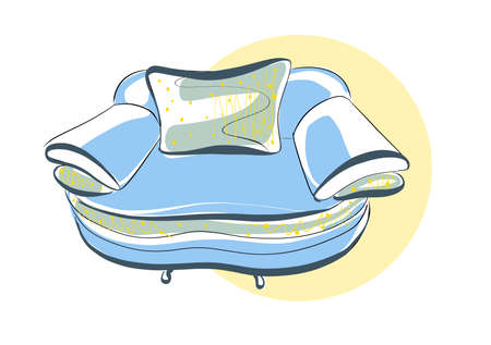 Sketch of a chair in a linear style, contour drawing in black and blue on a white background. Upholstered furniture for sitting and relaxing. Silhouette. vector. upholstered chair, vector sketch illustration