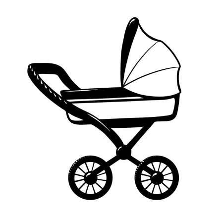 Pram icon vector illustration black on white background. 向量圖像