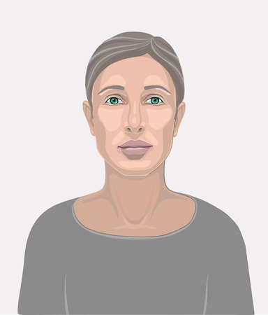 Face of a beautiful girl or woman without makeup, with clean skin, with short hair or hair laid back from the face. Isolated vector illustration. Flat color design for mobile applications and web des