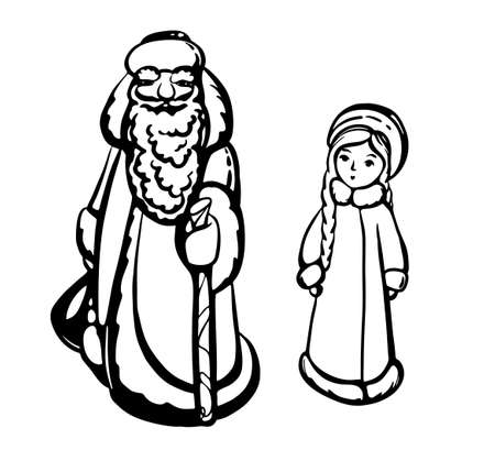 Silhouettes of Santa Claus and snow Maiden in black and white isolated on a white background vector