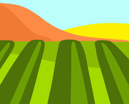 Landscape. The field is striped with mountains. Summer autumn Flat bright style vector