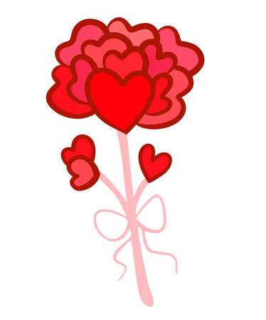 Hearts on a stick in the form of a flower. Flower of hearts. Doodle style simple bright on isolated background. Ilustracja