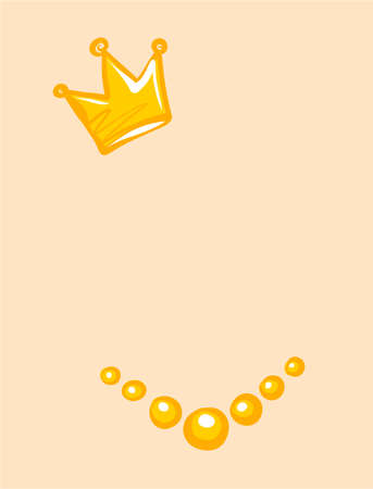 Accessories, isolated. Vector crown and beads. Illustration for the festive decoration of the Princess portrait.