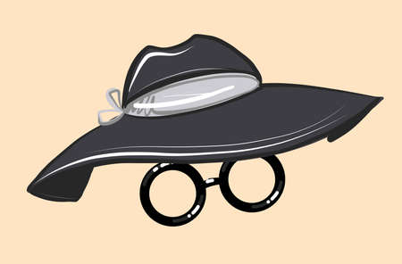 Accessory for the face. Fashionable black women s hat with a wide brim and round glasses. Vector on an isolated background. Portrait mask.