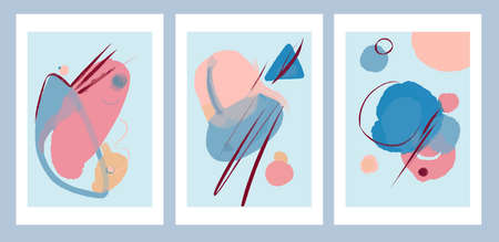 Minimalist geometric abstract art modern style simple color palette in cold colors art paintings set of 3 Stock fotó - 157823894