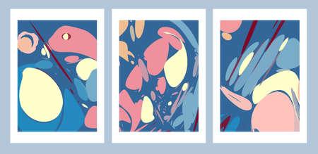 Minimalist geometric abstract art modern style simple color palette in cold colors art paintings set of 3 Illusztráció