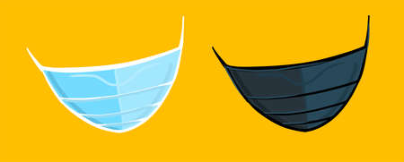 Illustration. Set of medical masks, blue and black. Vector on an isolated background.
