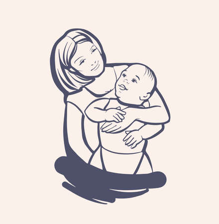 A young woman holds a small child in her arms. Mom plays and hugs the baby. A sign, a sketch drawn by hand. The logo is black and white in a vector on an isolated background.