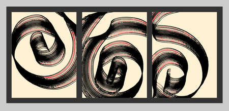 Artistic curl of the line. A set of abstract paintings, brush stroke. Art. Minimalism. Vector.