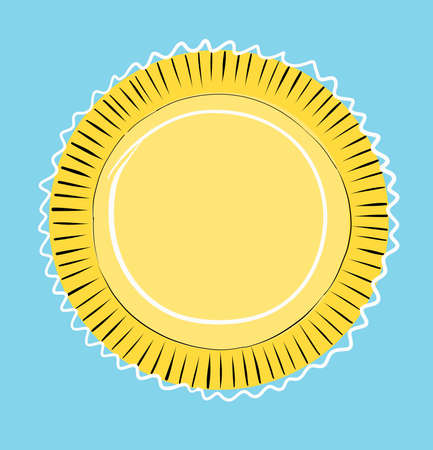 Illustration. The sun is like a flower in a blue sky. Vector
