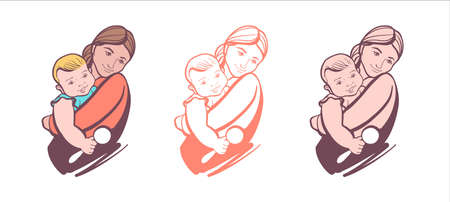 Set of sketches for Happy Mother s Day. Happy mom and baby playing and cuddling.