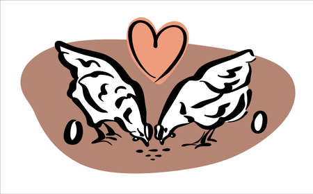 Logo for farmers. Two young hens peck at the grain and lovingly give away the eggs. Color logo, vector.