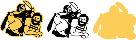 Dad plays with the baby. A father rides his son on his back, dressed as a pirate. A fun joint game of dad and baby. Illustration in black and white, on an isolated background, for cutting on a plotter. Simple in the form of an emblem and logo. Vector.
