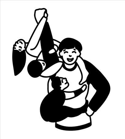 A large father plays with three children. A strong father holds a mischievous daughter and son in his arms and lifts them up. Fun communication of the father and the child. Illustration in black and white, on an isolated background, for cutting on a plotter for Father s Day. Simple in the form of an emblem and logo. Vector.