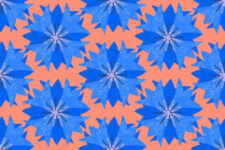 Seamless pattern, blue geometric stylized cornflower flowers, in a simple pattern on a coral background. Bright ornament. Vektorgrafik