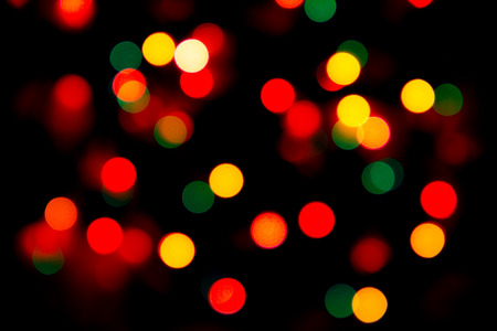 Multicolored Blurry lights on a dark background. Stock Photo