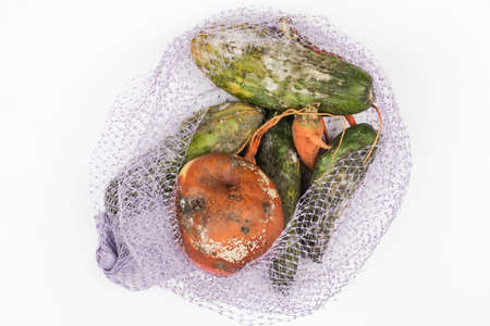 rotten apple, cucumbers, carrot in mesh bag on white background. global hunger problem. overconsumption concept. top view