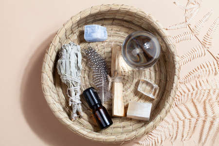 Palo Santo sticks, dried sage, crystals, essential oil and fortune telling ball. magic rock for ritual, witchcraft, spiritual practice, meditation. Stock fotó