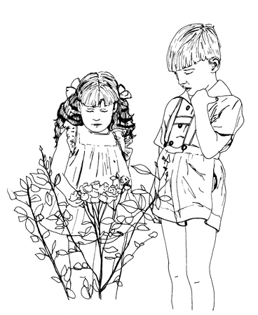 illustration of two kids looking at a rosebush
