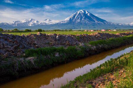 beautiful view of Kamchatka volcano