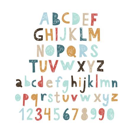 numeros: Abc doodle, cortar la fuente. Ilustración del vector.