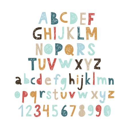 calligraphy: Hand drawn doodle abc, cut out font. Vector illustration. Illustration
