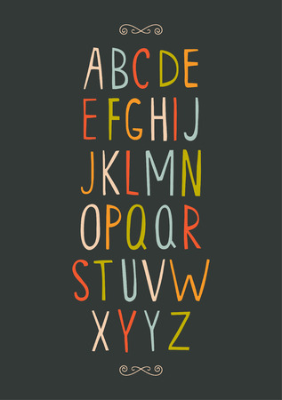 Hand-drawn vector alphabet. Illustration