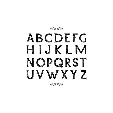 serif: Hand drawn serif font.Vector.