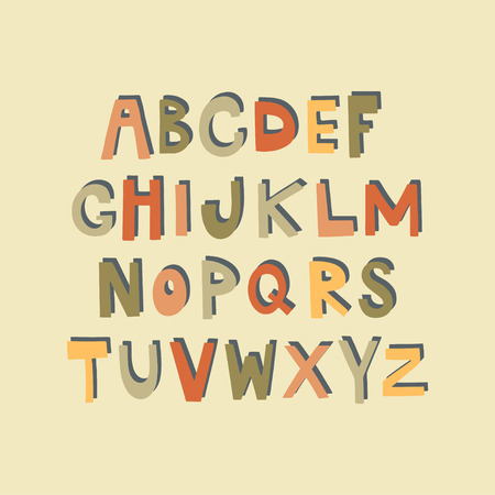 Hand drawn alphabet. Vector design.