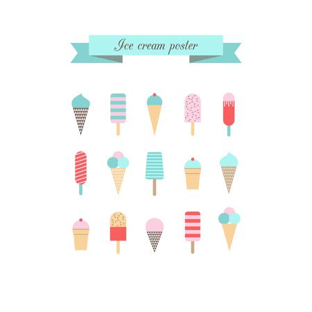 helado cucurucho: Cartel helado. Estilo retro. Vector.