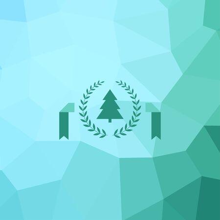 solemn: Happy New Year geometric christmas tree design greeting card. Illustration