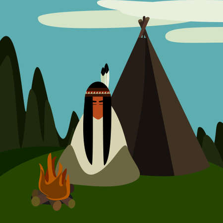 wigwam: Native american at the camp with a wigwam and a bonfire Illustration