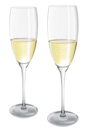 champagne glasses: Two Champagne Glasses Illustration