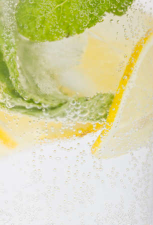 Healthy club soda with lemon and mint