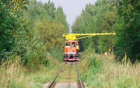 logging railroads: Speciale gru vagone nella foresta con i lavoratori
